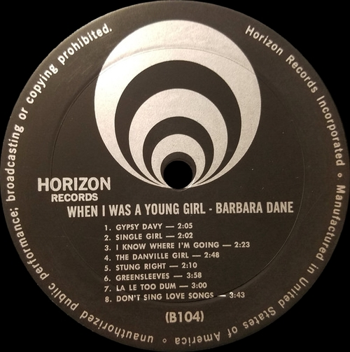 "Barbara Dane : Album "" When I Was A Young Girl "" Horizon Records WP-1602 [ US ]"