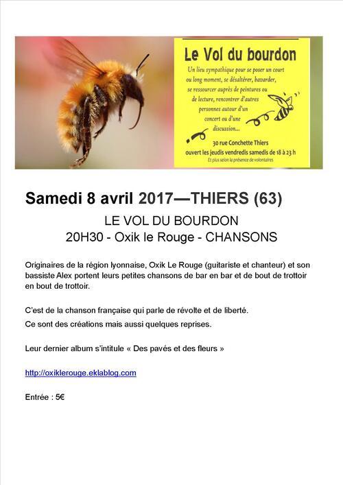 PROCHAIN CONCERT : SAMEDI 8 AVRIL 2017 - THIERS (63)