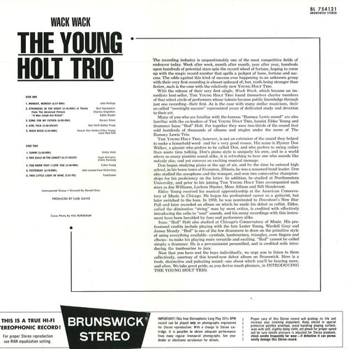 "The Young Holt Trio : Album "" Wack Wack "" Brunswick Records BL 754121 [ US ]"