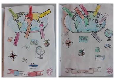 Illustration d'un texte poétique sur le monde et les voyages
