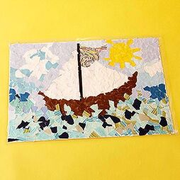 Your children can use their imaginations to create mosaic-style landscapes that look picture-perfect as place mats on your dining room table.                         Make It: Select a large piece of cardstock or thin cardboard for the backdrop. Sketch rough outlines of a simple landscape or have your kids create their own. Let your kids tear colored paper to glue onto the cardboard. When the design is finished, take it to an office supply store for laminating.