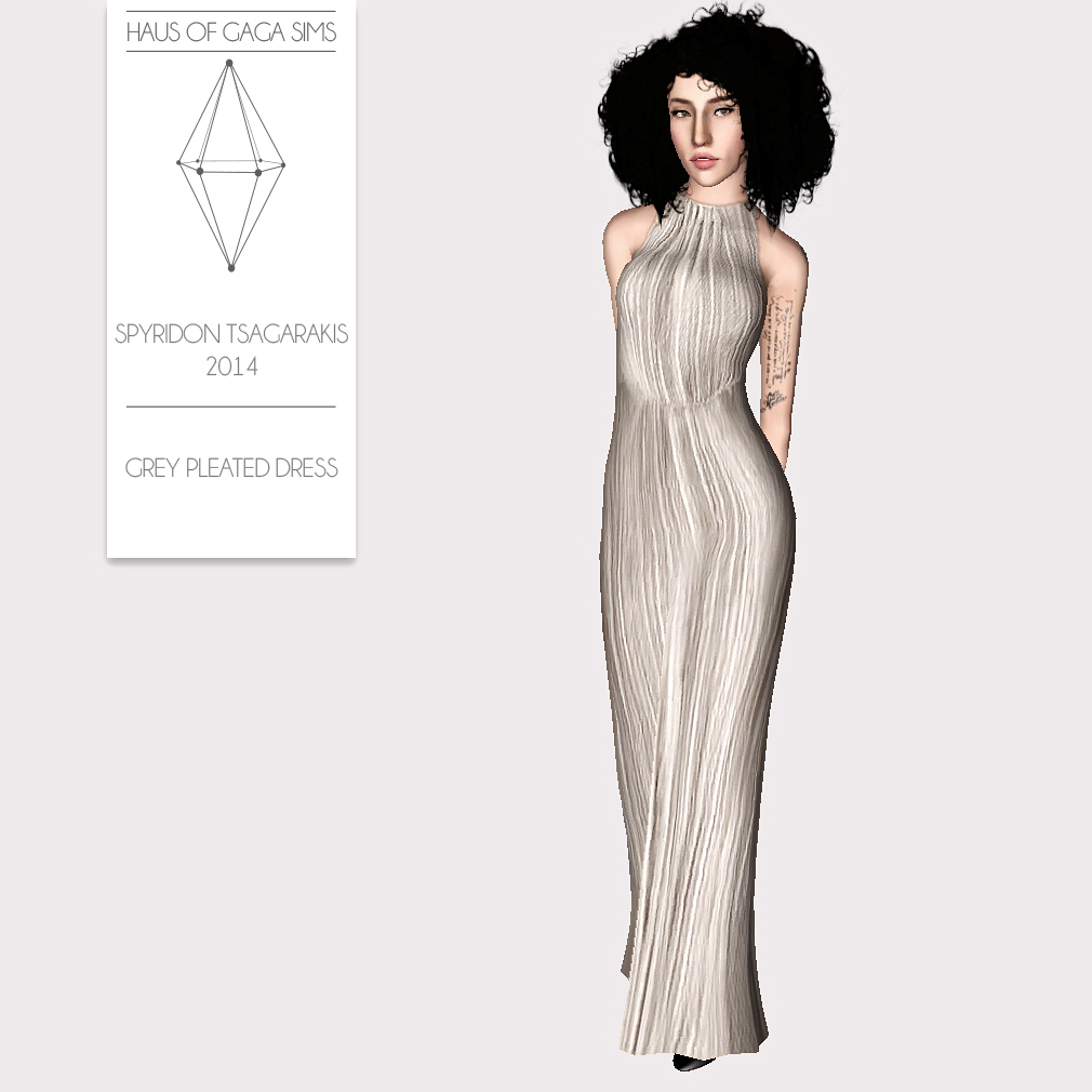 SPYRIDON TSAGARAKIS 2014 GREY PLEATED DRESS