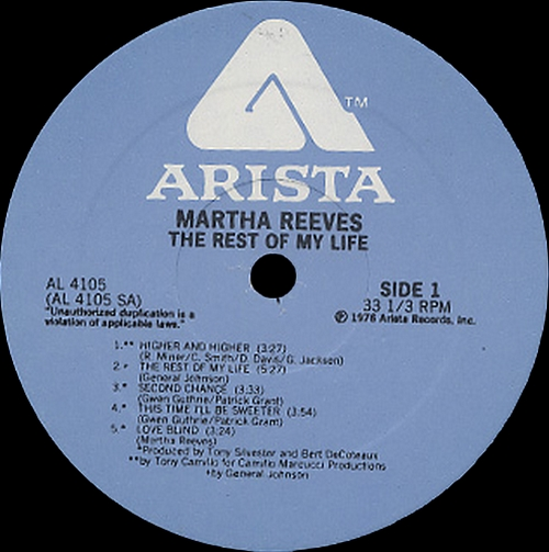 "Martha Reeves : Album "" The Rest Of My Life "" Arista Records AL 4105 [ US ]"