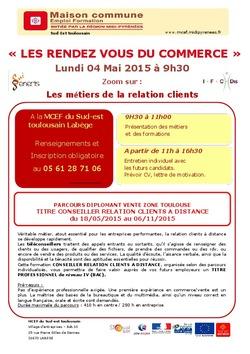 4 mai 2015 : Information métiers de la relation client à la MCEF Labège