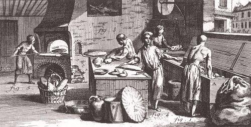 Atelier d'un boulanger au XVIIIe siècle