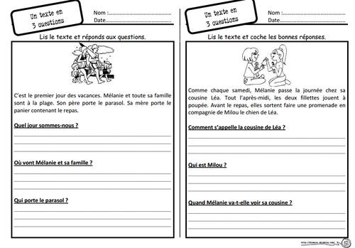 Un texte, 3 questions, lecture, compréhension, questions, ce1, cycle 2
