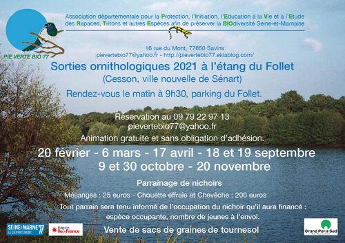 • Les dates des sorties sur l'étang du Follet