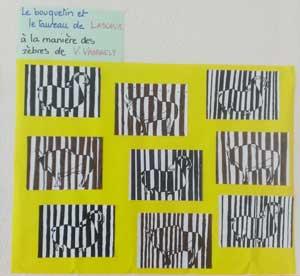 Les animaux préhistoriques en code-barres, Op'art à la manière de Vasarely