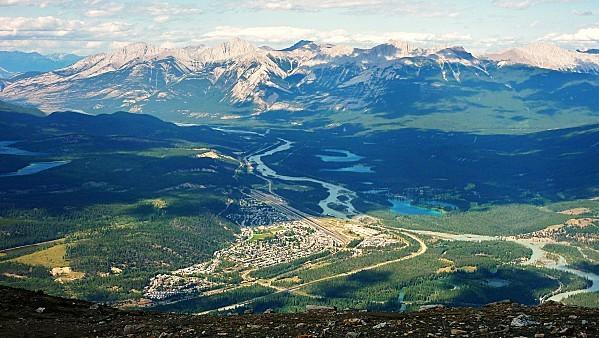 Jour 19 Jasper Tramway vue sur Jasper et montagnes