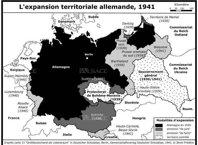 Le III e Reich s'est agrandi à partir de 1933, avec des territoires sous statuts différents. Ont été enrôlés entre 295 000et 750 000 Polonais, 127 500 Alsaciens-Mosellans, 39 000 Slovènes, 9 100 Luxembourgeois et 8 000 Belges. DR/Frédéric Stroh