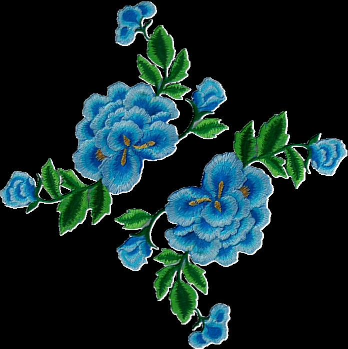 Tubes fleurs brodées
