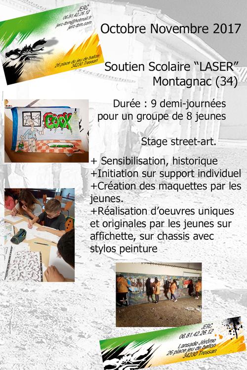 """Stage street-art graff pour 8 jeunes de l'association """"LASER"""" Montagnac (34) durant 9 demi-journées octobre 2017 toutes les photos ici http://www.jerc-tbm.com/crbst_5.html"""