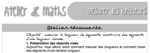 Atelier de math : mesure de longueurs