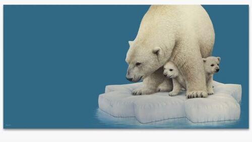 Dessin et peinture - vidéo 1848 : Ours et oursons sur la banquise - peinture acrylique.