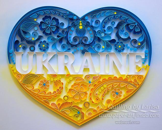 love heart typography quilling art