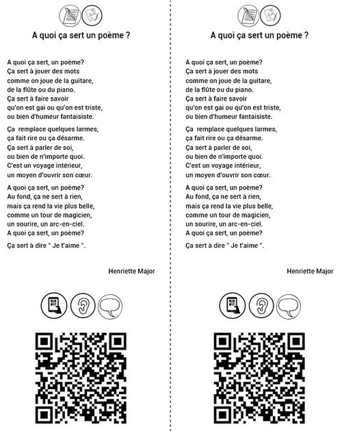 Poésies et QR codes, cahier, page de garde, CP, CE1, CE2, Cycle 2, Dixmois, copie, mémorisation