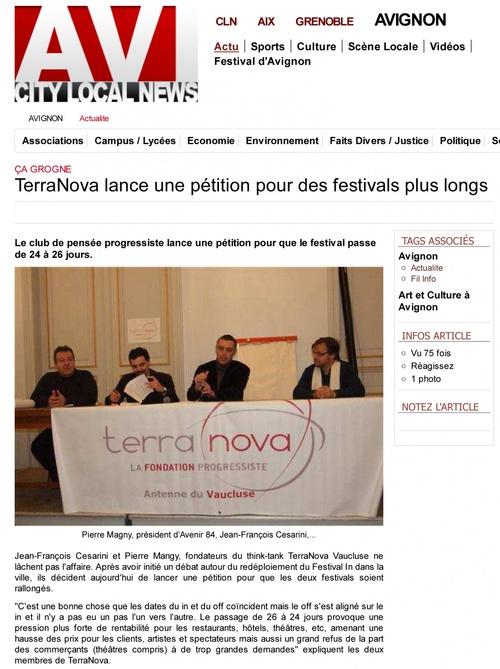 """Articles du 11/01/12 relatifs au lancement de la petition """"terra nova"""""""