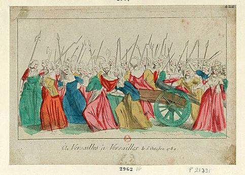 La marche des femmes le 5 octobre 1789. Sur la droite, on aperçoit une bourgeoise entraînée par l'une des manifestantes.