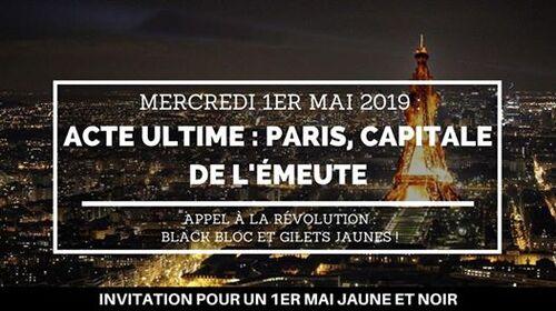 Pour un 1er mai jaune et noir ! . Paris, capitale de l'émeute