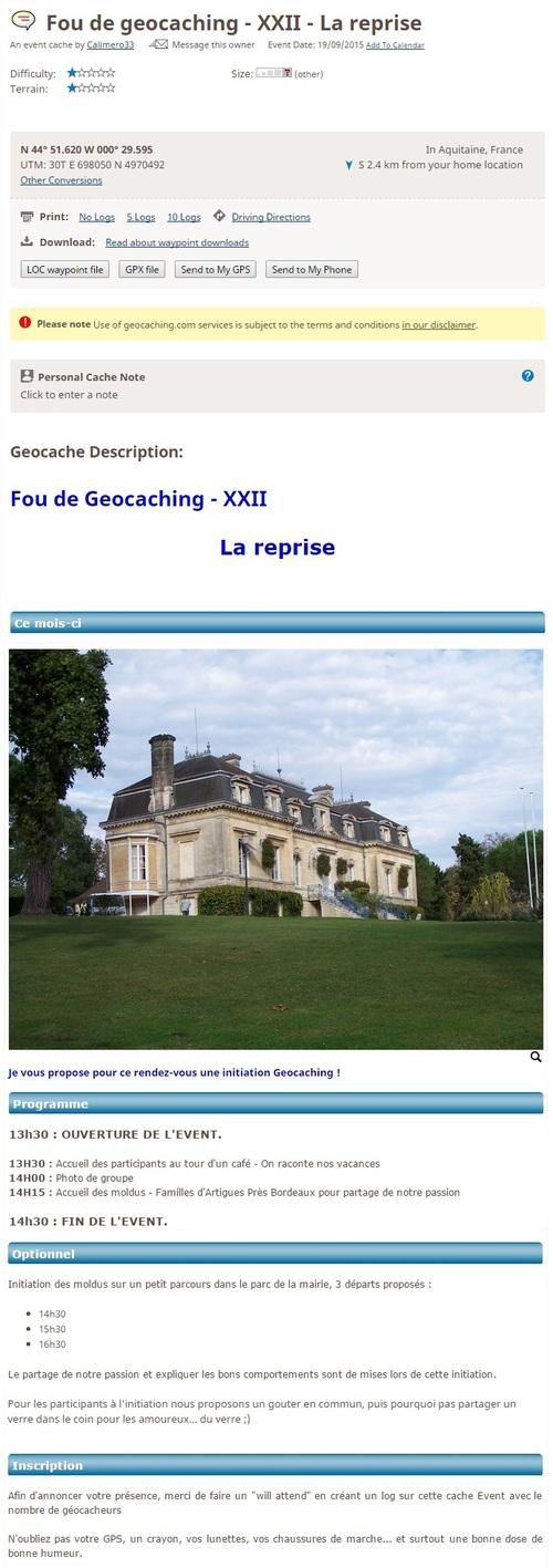 19/09/2015 - Fou de Geocaching - XXII - La reprise