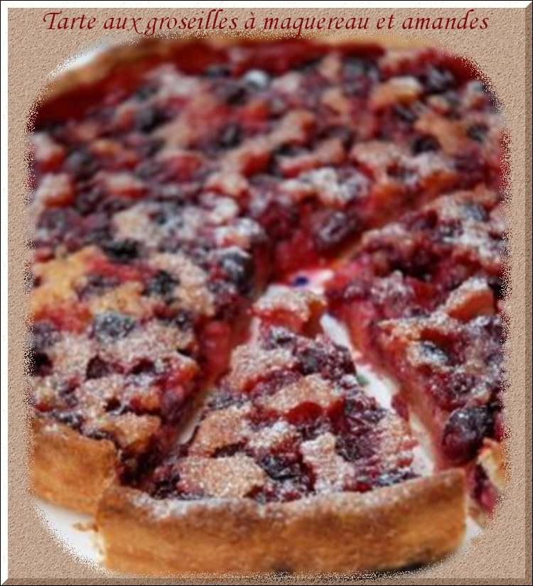 Recette de cuisine : Tarte aux groseilles à maquereau et amandes