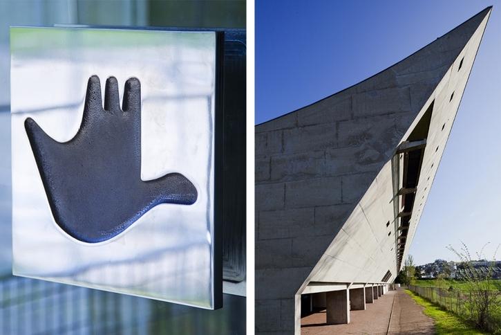 entrée et détail de la maison de la culture de Le Corbusier à Firminy