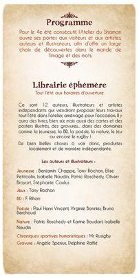 Atelier du Shaman, Blesle été 2017 librairie éphémère