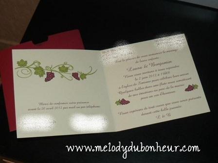 faire part mariage vin et vignes