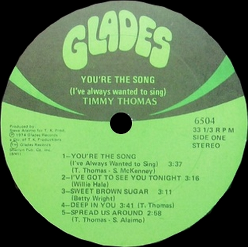 "Timmy Thomas : Album "" You're The Song I've Always Wanted To Sing "" Glades Records 6504 [ US ]"
