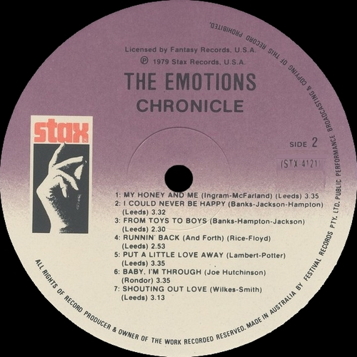 """The Emotions : Album """" Chronicle : Greatest Hits """" Stax Records STX-4121 [ US ]"""
