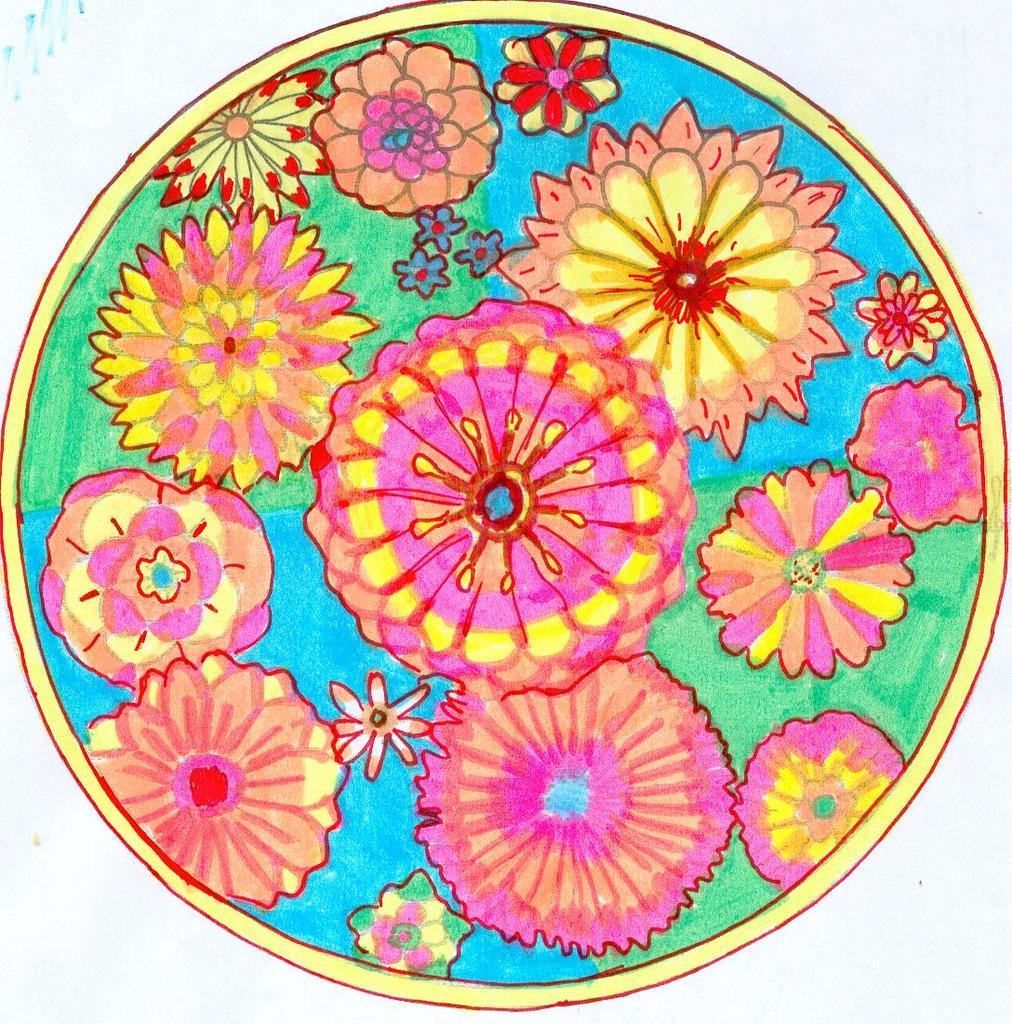 Mandala bouquet de fleurs bon anniversaire domie domandalas - Mandala anniversaire ...