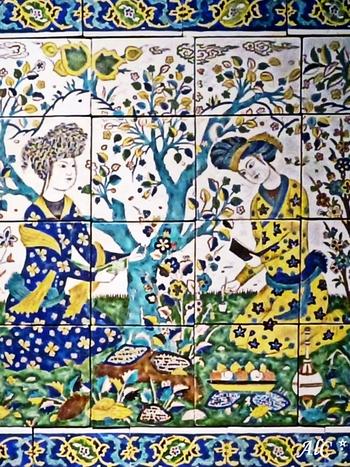 Panneau à la joute poétique, Iran, Ispahan, milieu du 17e siècle