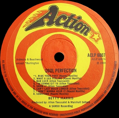"Betty Harris : Album "" Soul Perfection "" Action ‎Records ACLP 6007 [ UK ] en 1969"