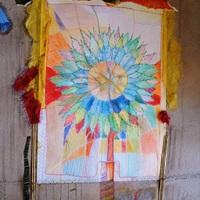 Fleur d'enfant, crayon, collage