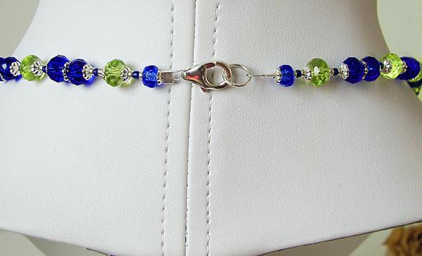 Collier 3 rangs Cristal Bleu Roi et Vert Anis  / Plaqué Argent et Argent 925