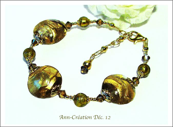 Bracelet Verre de Murano Authentique Feuille d'Or 24 Kt / Plaqué Or & Vermeil