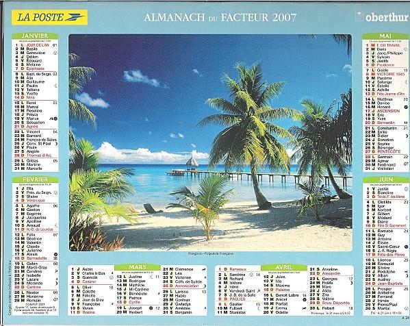 Calendrier du facteur 1S2007