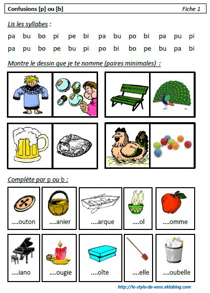Travail sur les confusions entre les sons [p] et [b]