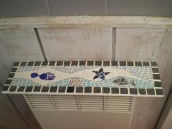 """Plaque de radiateur , thème """" mer """" en mosaïque"""