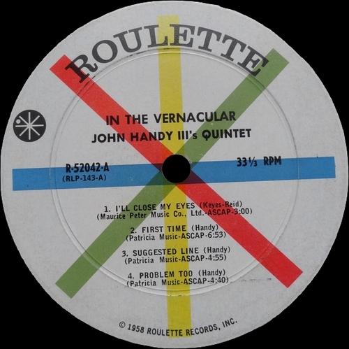 "John Handy III : Album "" In The Ver-nac'u-lar "" Roulette Records R 52042 [ US ] en 1959"
