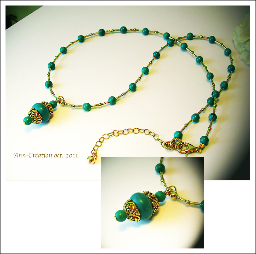Collier Pendentif Turquoise Naturelle / Plaqué Or 14 kt Gold Filled