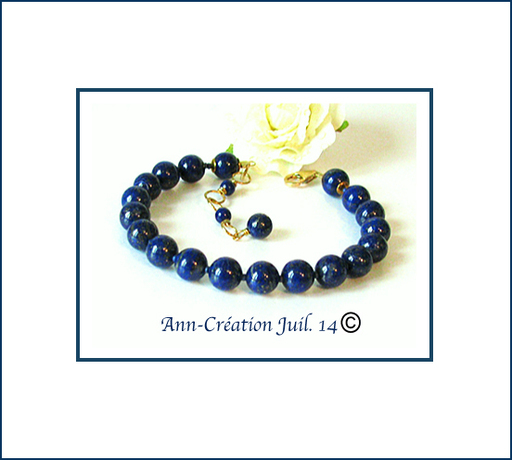 Bracelet Lapis-Lazuli naturel Très belle qualité - Perles 8mm / Plaqué Or 14 kt Gold Filled
