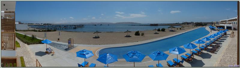 Retour à notre hôtel : panoramas vus de notre chambre avec la piscine démesurée et le port de El Chaco - Pisco - Pérou