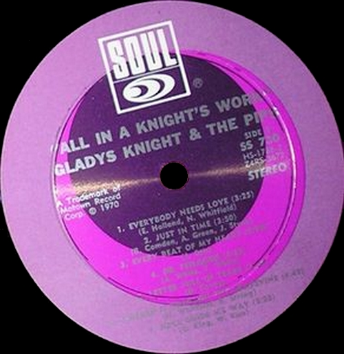 """Gladys Knight & The Pips : Album """" All In A Knight's Work (Live Performances) """" Soul Records SS 730 [ US ]"""