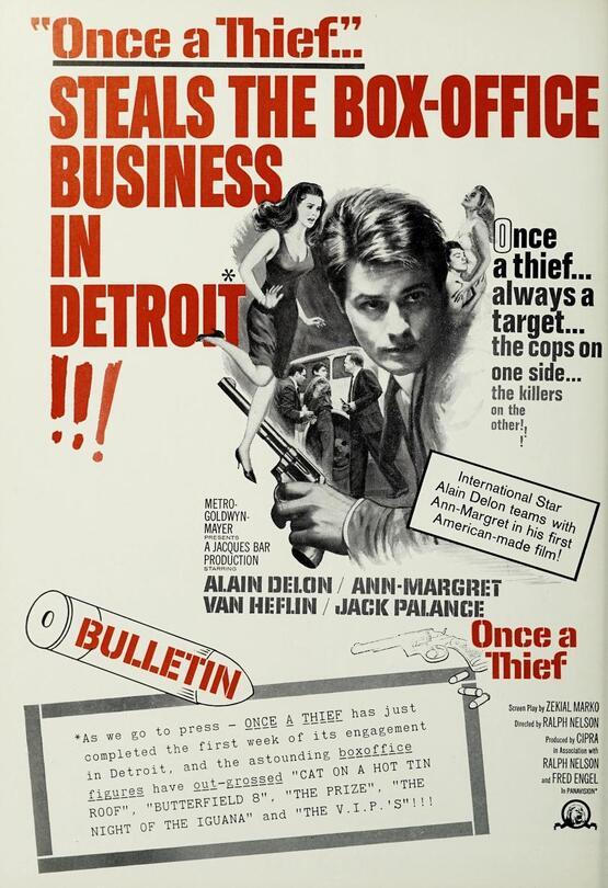 ONCE A THIEF - ALAIN DELON BOX OFFICE USA 1965