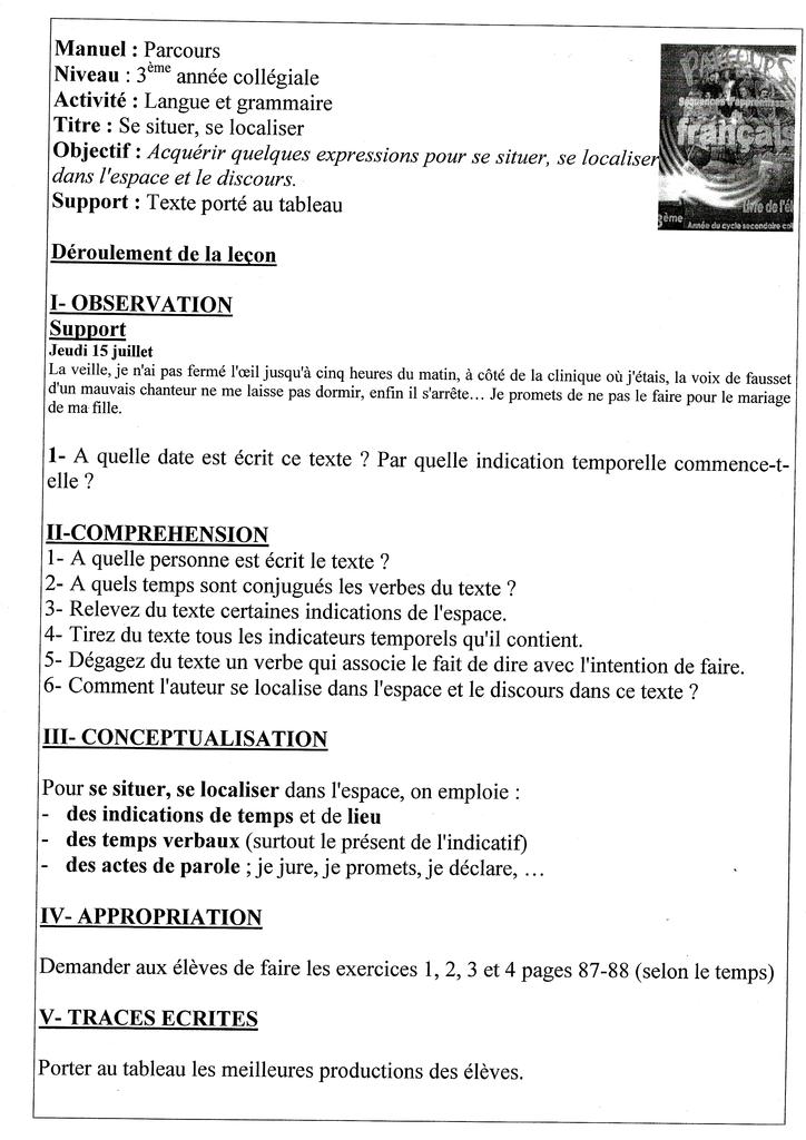 Fiche Pedagogique De Francais 3eme Annee Collegiale Langue Et Grammaire L Examen Normalise College Lycee