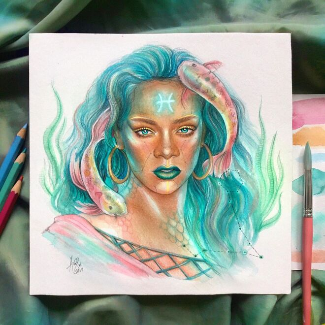 color pencil drawing zodiac