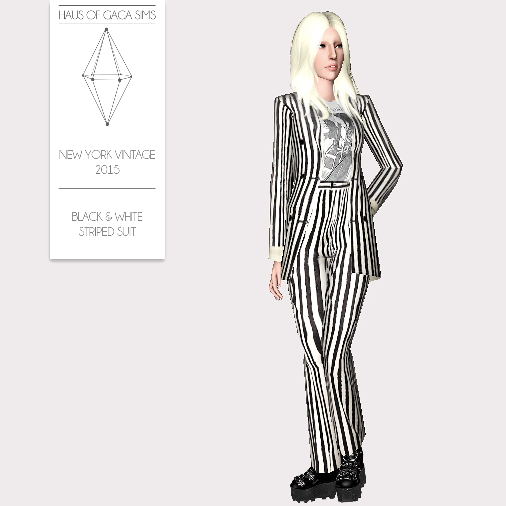 NEW YORK VINTAGE 2015 BLACK & WHITE STRIPED SUIT
