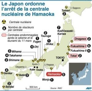 Carte des centrales nucléaires au Japon (AFP) 06-05-2011