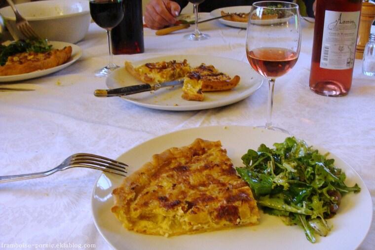 Tarte aux pâtissons, cèpes et lardons